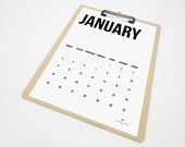 Simple - 2016 Monthly Printable Calendar - Minimal Black & White Planner - Back to School Office Organization  - PDF File- Instant Download
