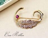 Gold Twisted Rhinestone Leaf Brooch Pin Wedding Jewelry