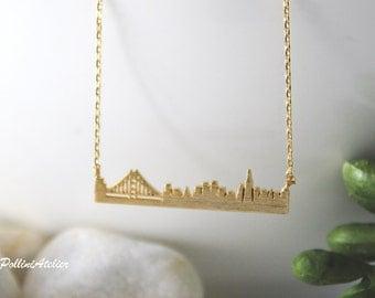 San Francisco Necklace in Silver/ Gold. Collarbone Necklace. Layering Necklace. San Francisco Skyline. Souvenir. Unisex Gift (PNL-174)