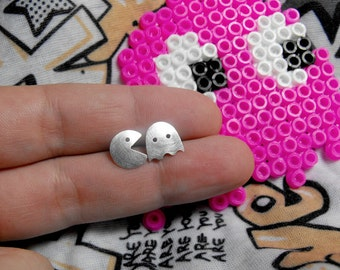 Pacman stud earrings. Handmade in sterling silver