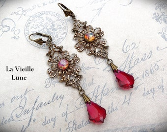 Pink Ruby and Opal Victorian Earrings, Vintage Opal Glass Jewel Earrings, Victorian Jewelry