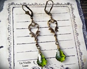 Olivine Victorian Earrings, Green Baroque Drop Earrings, Victorian Jewelry, Valentine Earrings