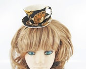 Teacup Fascinator-Gold Watch in Black