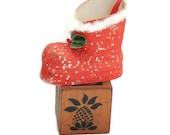 1960's Santa Boot Candy Container Christmas Tree Ornament, Vintage Paper Santa Boot Ornament Vintage Christmas Decor, Excellent Condition