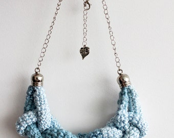 Hand Crochet Necklace, Bib Necklace, Statement Knot Necklace, Statement Fiber Jewelry, Blue Ombre Necklace, Cotton Anniversary Gift for Her