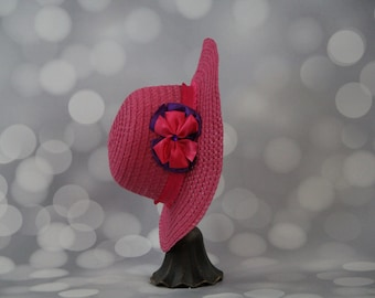 Tea Party Hat; Pink Easter Bonnet with Ribbon; Girls Sun Hat; Pink Easter Hat; Sunday Dress Hat; Derby Hat; 16244