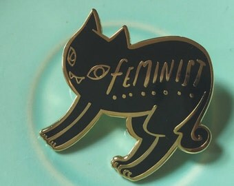 Black Cat Feminist Enamel Pin