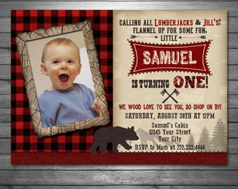 Lumberjack Birthday Invitation, Lumberjack Photo Invite, Printable Lumberjack Invitation, Rustic, Lumberjack Birthday, Bear Invitation