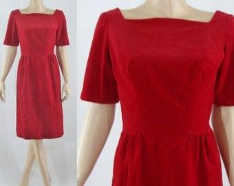 Vintage Sixties Dress - 1960s Red Velvet Dress - 60s Wiggle Dress - XS Vintage Dress