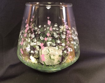 Hand Painted Glass Candle Holder - Snifter Style - Spring
