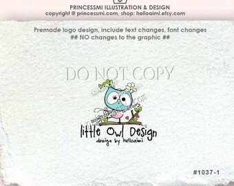 Custom Premade Logo Design - sketch hand drawn Owl illustration photography business boutique logo by princessmi 1037-1