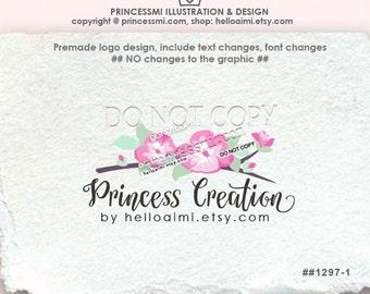 1297-1, boutique logo, Premade Logo Design, sketch flower, pink flowers business boutique logo design , floral watermark