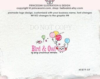 1177-17, owl logo,premade Logo Design - bird and owl balloon logo , owl illustration  logo photography business boutique