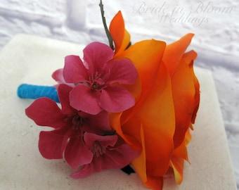 Groomsmen boutonniere Orange hot pink turquoise Tropical Wedding boutonnieres