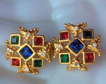 Maltese Cross Crystal Earrings