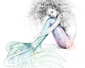 8x10 inch PRINT Tranquil Mermaid Colour Splash Rainbow Tail Tattoo Art Print Graphite Pencil Drawing Signed