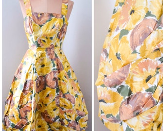 1950s Yellow poppy & rose print cotton dress / 50s flower printed sundress -
