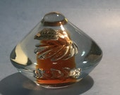 "Blenko Amber /  Turquoise Swirl Glass paperweight 3.5""wide 3"" high"