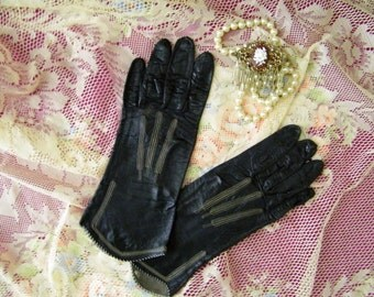 Vintage Embroidered Leather Driving Gloves, S