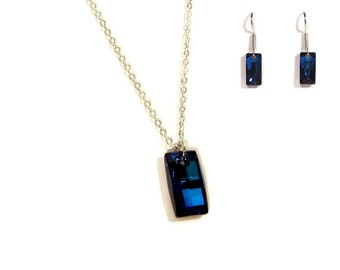 Swarovski Crystal Bermuda Blue Urban Pendant and Chain Set with Matching Earrings