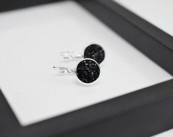 Black Druzy Earrings, Druzy Earrings, Black Earrings, Faux Druzy Earrings, Leverback Earrings, Black Drop Earrings, Silver Earrings, For Her