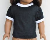 18 inch Doll Clothes - Ringer Tee, Black & White, Top, Tshirt, Shirt, AG Doll, Separates