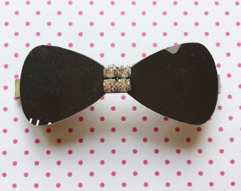 Black bow hairclip made of recycled credit card great gift eco friendly - free shipping