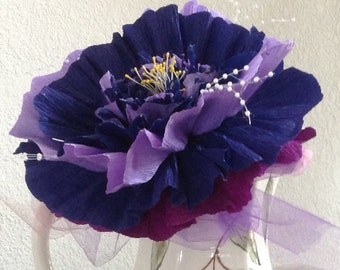 Large Crepe Paper Flower Mounted on 10 inch Wooden Dowel