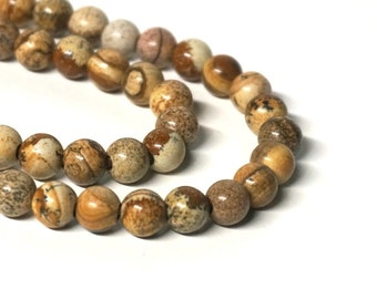 8mm LARGE HOLE Picture Jasper gemstone beads, round, 8 inch strand (1189S)