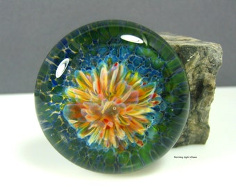 40mm Extra Large Lampwork Implosion Cabochon - Glass Paperweight- Jewelry Making Supply -Waterlily