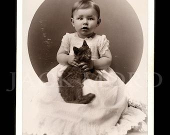 Antique 1890s Cabinet Card Photo Little Boy Holding Cat ~ Marshfield Wisconsin