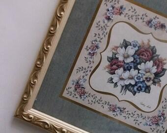 Shabby Cottage Framed  Floral Prints. Cottage Chic Romance Decor. Vintage 60s prints. Wood Framed. Kathy Seek art