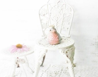 Doll Bistro Chair w table. Cast iron ornate decor. Whimsical Fairy Garden Doll furniture. Shabby Cottage Garden