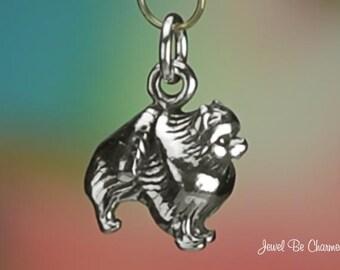 Sterling Silver Pomeranian Charm Dog Breed Purebred Poms 3D Solid .925