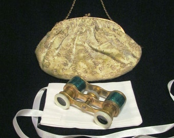 Paris Green Guilloche Opera Glasses Antique Binoculars Theater Glasses In French Silk Purse