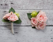 Wedding Boutonniere and Corsage Set - Blush Pink Rose and Hops Boutonniere and Corsage