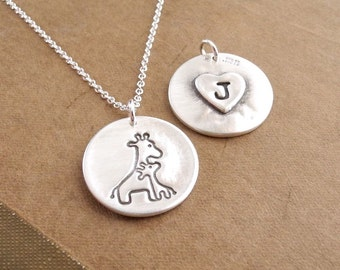 Personalized Mother and Baby Giraffe Necklace, Heart Monogram, Fine Silver, Sterling Silver Chain, Made To Order