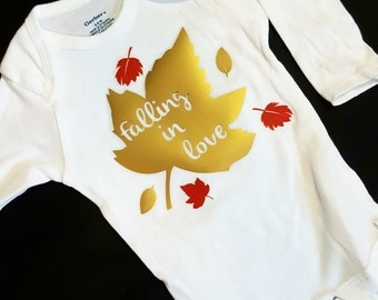 Fall Leaves Onesie. Funny Baby Onesie. Free shipping! White Creeper. Falling in Love Bodysuit. Autumn Baby. Gold Red Leaf. Falling Leaves.
