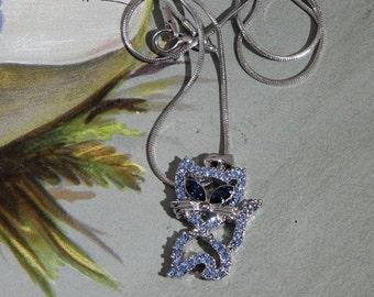 Blue Rhinestone Kitty Cat Heart Pendant Necklace on Chain    NAQ32