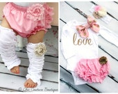 """Baby Girl Valentine's Day Outfit, Coming Home Outfit Set up to 4 Items """"love"""" & Bow Bodysuit, Diaper Cover, Leg Warmers, Gold Lace Headband"""