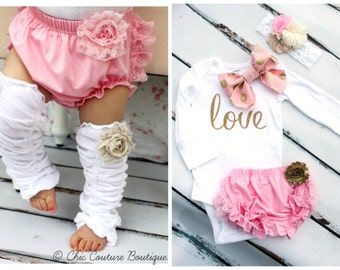 "Baby Girl Coming Home and Valentine's Day Outfit Set up to 4. ""love"" & Bow Bodysuit, Diaper Cover, Leg Warmers, Gold Headband. 1st Birthday"