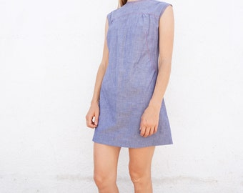 Dress 60s Blue House Dress Cotton Sz. S