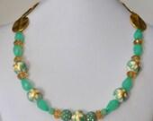 Mint, Gold & Cream Vintage Flower Necklace