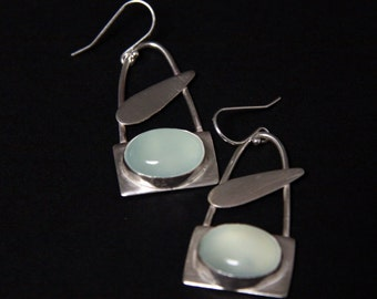sterling silver earrings with oval chalcedony stones