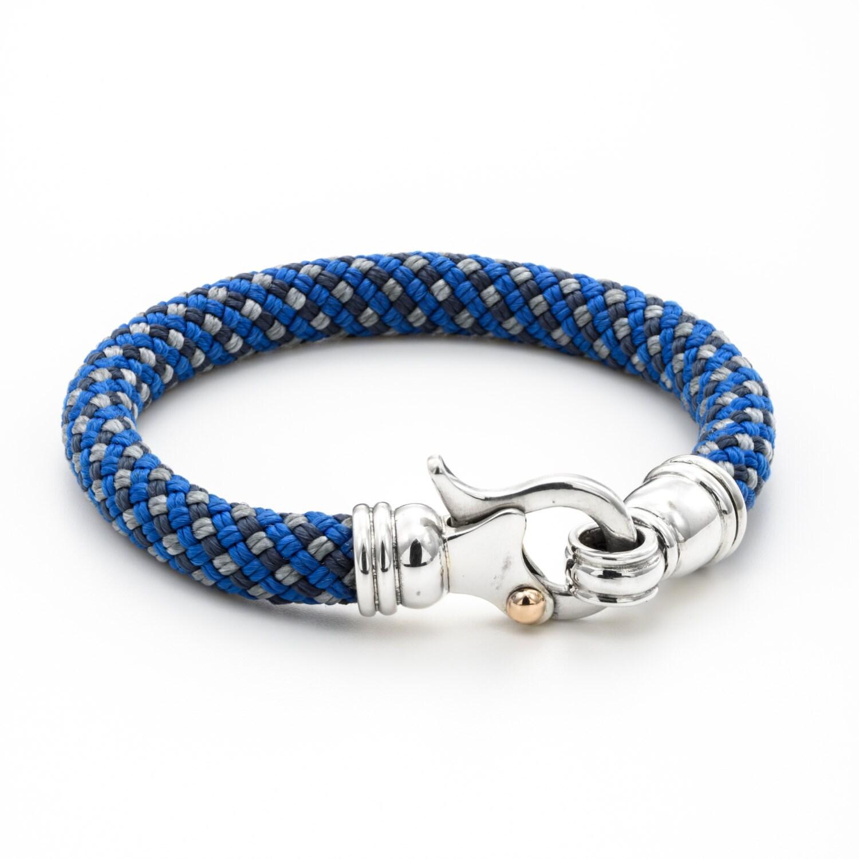 Silver Rope Bracelet: MENS BRACELET Blue Rope / Clasps Silver Charm Bracelet/ Yacht