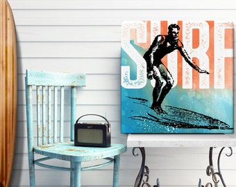 Surf Art, Beach Decor, Coastal Wall Art, large Canvas Art, Pop Art, Coastal Decor, Beach Wall Art, Watercolor, Canvas Print, 24x24 art