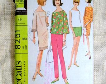 Vintage 1960s Dress Pattern McCall's 8521 shift shorts cigarette pants shirt Bell Sleeves MIni Dress Mod Hippie Go Go Bust 36