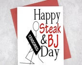 Happy Steak and BJ Day Card, Funny Valentine Card, Adult Gift, Blowjob Card, Sexy Art, Boyfriend Funny Card, Explicit