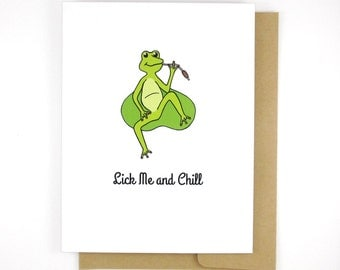 Naughty Cards - Gift Ideas For Boyfriend - Lick Me and Chill - Frog Lover - Funny Valentine
