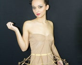 Gold lame color Crinoline hoop cage skirt pannier 3 rows and ribbon, elastic waist simple cage
